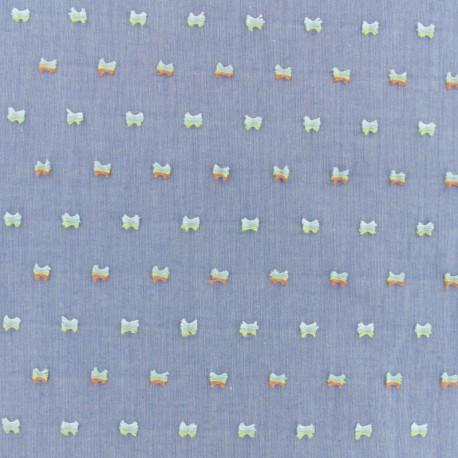 Tissu Chambray - bleu  x 10cm