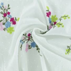 Embroidered plumetis voile Fabric - white x 20cm