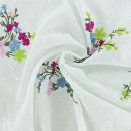 Tissu voile plumetis fleurs brodées - blanc x 20cm