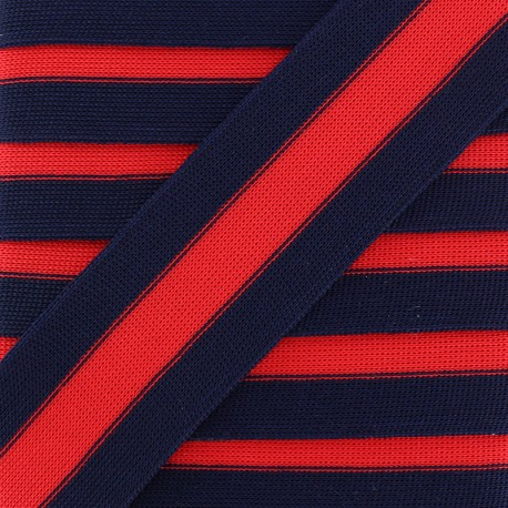 40 mm Knitted Ribbon - Navy/Red Stripe x 1m