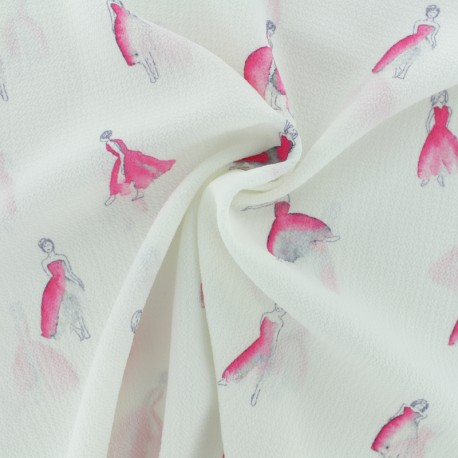 Embossed crepe fabric Birdy - navy x 10cm