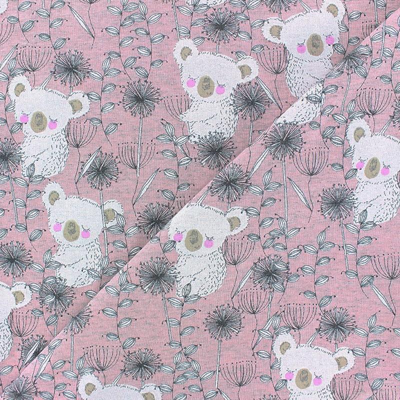 Summer Jersey Koala /& Dandelion Sweatshirt Fabric Stretch Knit Pink
