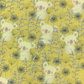Cotton Jersey fabric - yellow sweet Koala x 10cm