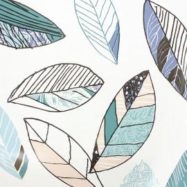 Tissu toile cirée Bulgomme Leaf - blanc x 10cm