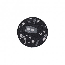 Space Rocket Iron-On Patch - Black