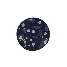 Space Rocket Iron-On Patch - Navy Blue