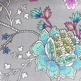 Oilcloth fabric - Grey blue bud x 10cm