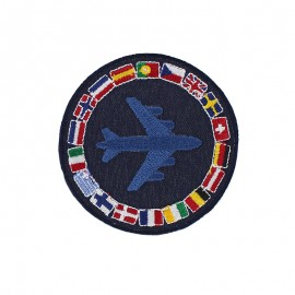 Around the World Iron-On Patch - Navy Blue