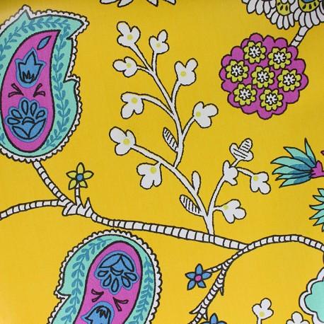 Oilcloth fabric - yellow Persepolis x 10cm