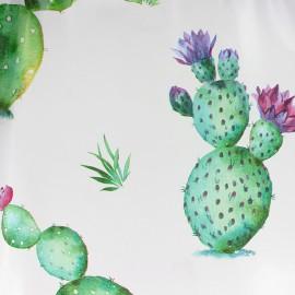 Tissu toile cirée Cactus - blanc x 10cm