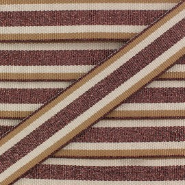 Ruban Gros Grain Lurex Exquiso 25 mm - Marron x 1m
