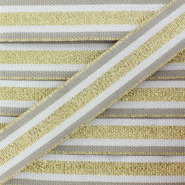 25 mm Lurex Grosgrain Ribbon - Gold Exquiso x 1m