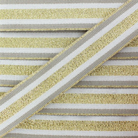 25 mm Lurex Grosgrain Ribbon - Gold Exquiso x 1m