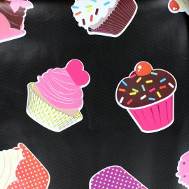 Tissu toile cirée Cupcake - noir x 10cm