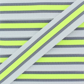 25 mm Striped Grosgrain Ribbon - Grey Gym x 1m