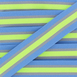 25 mm Striped Grosgrain Ribbon - Blue Gym x 1m