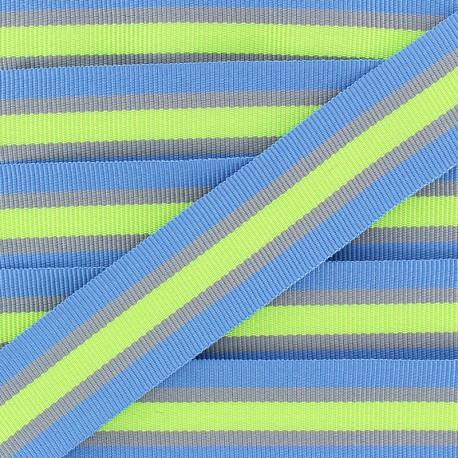 25 mm Striped Grosgrain Ribbon - Blue Gym x 1m