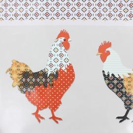 Tissu toile cirée Basse-cour - beige x 15 cm