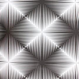 Tissu toile cirée carré optique - blanc/noir x 10cm