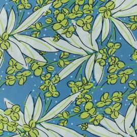 Polyester satin fabric - Blue Floraison  x 50cm