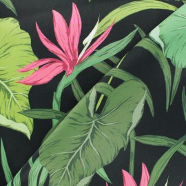 Polyester satin fabric - black Bird of paradise flower x 50cm