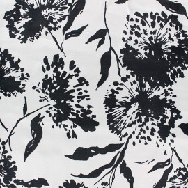 Silky satin fabric - white/black Dandelion x 50cm