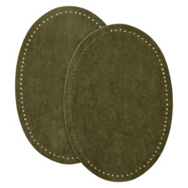 Suede Iron On Knee and Elbow Pads - Khaki