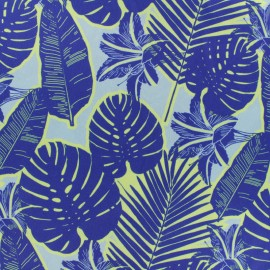 Embossed satin fabric - Blue jungle x 50cm