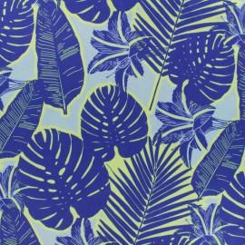 Embossed satin fabric - Blue jungle x 50cm