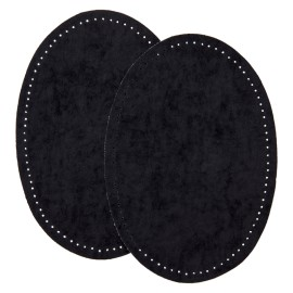 Suede Iron On Knee and Elbow Pads - Black