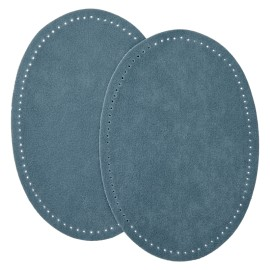 Suede Iron On Knee and Elbow Pads - Smoky Blue
