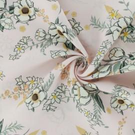 Tissu crêpe champêtre - rose clair x 10cm