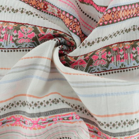 La Maison Victor embroidered fabric - raw Mérida x 10cm