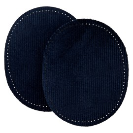 Ribbed Velvet Iron On Knee and Elbow Pads - Navy Blue