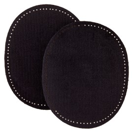 Ribbed Velvet Iron On Knee and Elbow Pads - Black