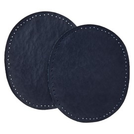 Faux Leather Iron On Knee and Elbow Pads - Blue