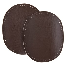 Faux Leather Iron On Knee and Elbow Pads - Brown
