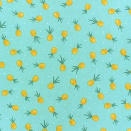 Dear Stella Flockstar Poplin fabric - blue Pineapple Crush x 10cm