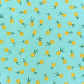 Tissu Popeline Dear Stella Flockstar Pineapple Crush - bleu x 10cm