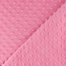 Tissu Velours minkee doux relief à pois rose