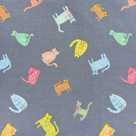 Dear Stella Poplin fabric - grey Fat Cat x 10cm