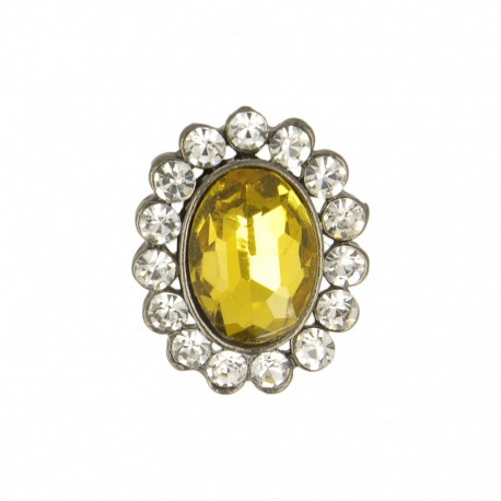 23 mm Jewel Metal Button - Amber Precioso