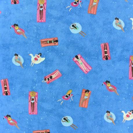 Tissu Popeline Dear Stella Floating - Bleu x 10cm