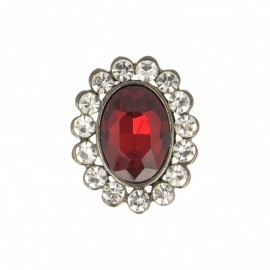 23 mm Jewel Metal Button - Ruby Precioso