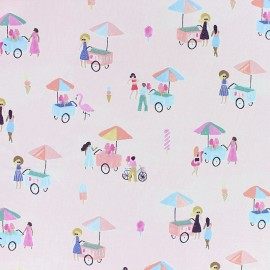 Dear Stella Poplin fabric - Light pink Ice cream sellers x 10cm