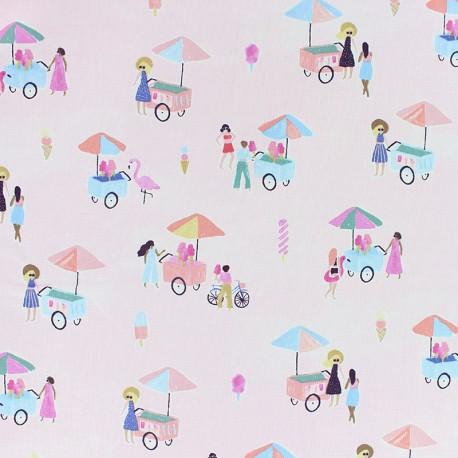 Dear Stella Poplin fabric - Light pink Ice cream sellers x 10cm