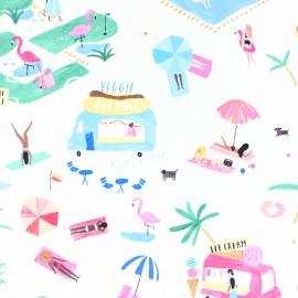 Dear Stella Poplin fabric - White Girls just wanna have fun x 10cm
