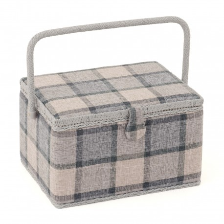 Large Size Sewing Box - Grey Check