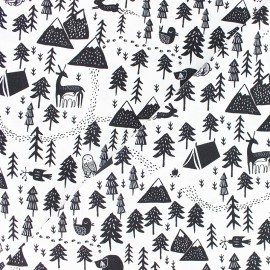 Tissu Popeline Dear Stella - Harvest moon - hibernation - noir x 10cm