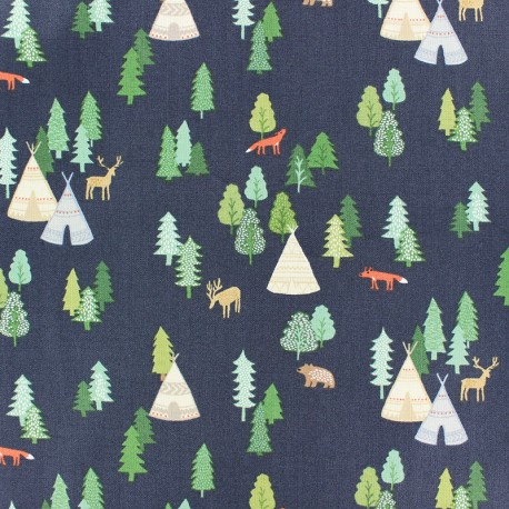 Dear Stella Poplin fabric - Navy blue Campsite x 10cm